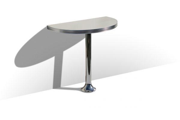 Table demi cercle sur un seul pied