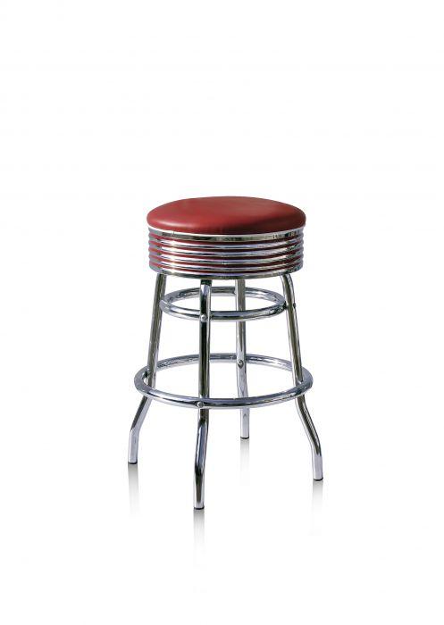 Bel-Air-Années-50-chaise-de-bar-tabouret-de-bar-4-quatre-pieds-BS-29-66-Rouge-Rubis