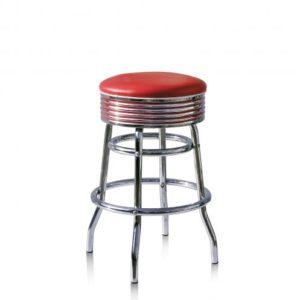 Bel-Air-Années-50-chaise-de-bar-tabouret-de-bar-4-quatre-pieds-BS-29-66-rouge-rétro